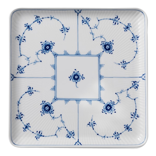 Blue Fluted Plain Tallrik 20x20 cm Kvadrat