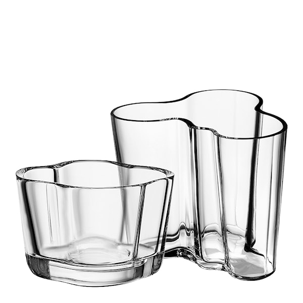 Iittala Alvar Aalto Collection Sett Vase 9,5 cm + Telysholder 6 cm Klar