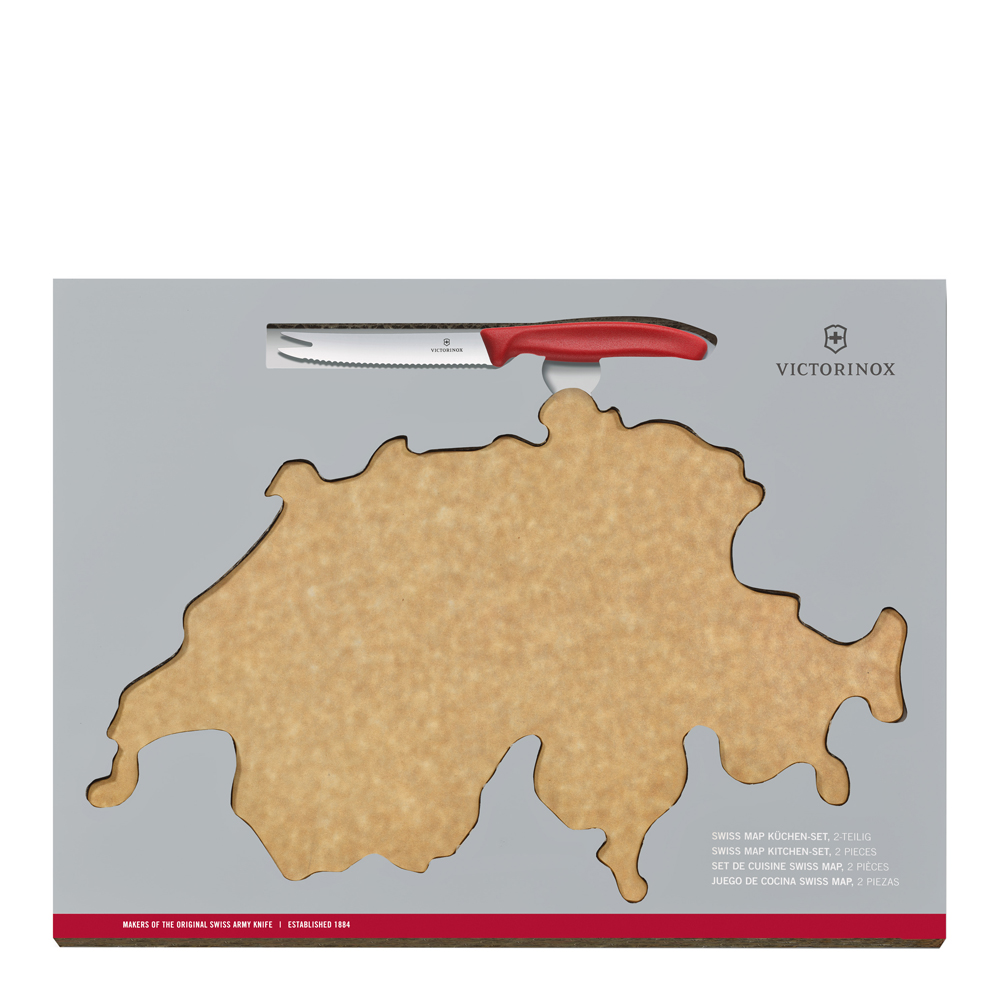 Victorinox - Swiss Classic Ostkniv + Skärbräda Röd