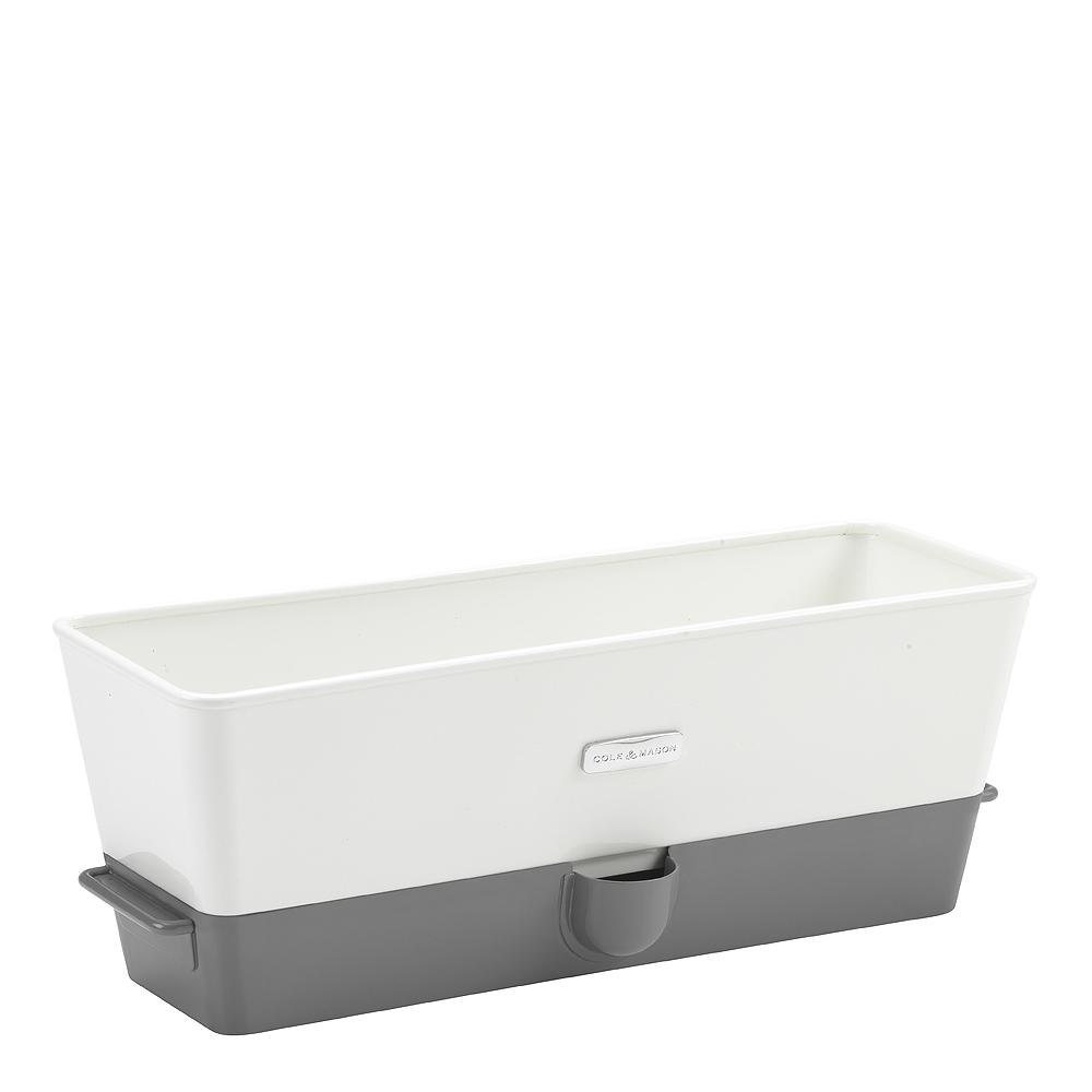 Cole & Mason - Självvattnande Örtbehållare 3 plantor Vit/Grå