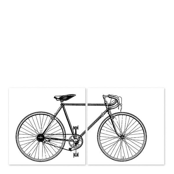 Boubouki Kakeldekor Cykel 15x15 cm 2-pack Vit