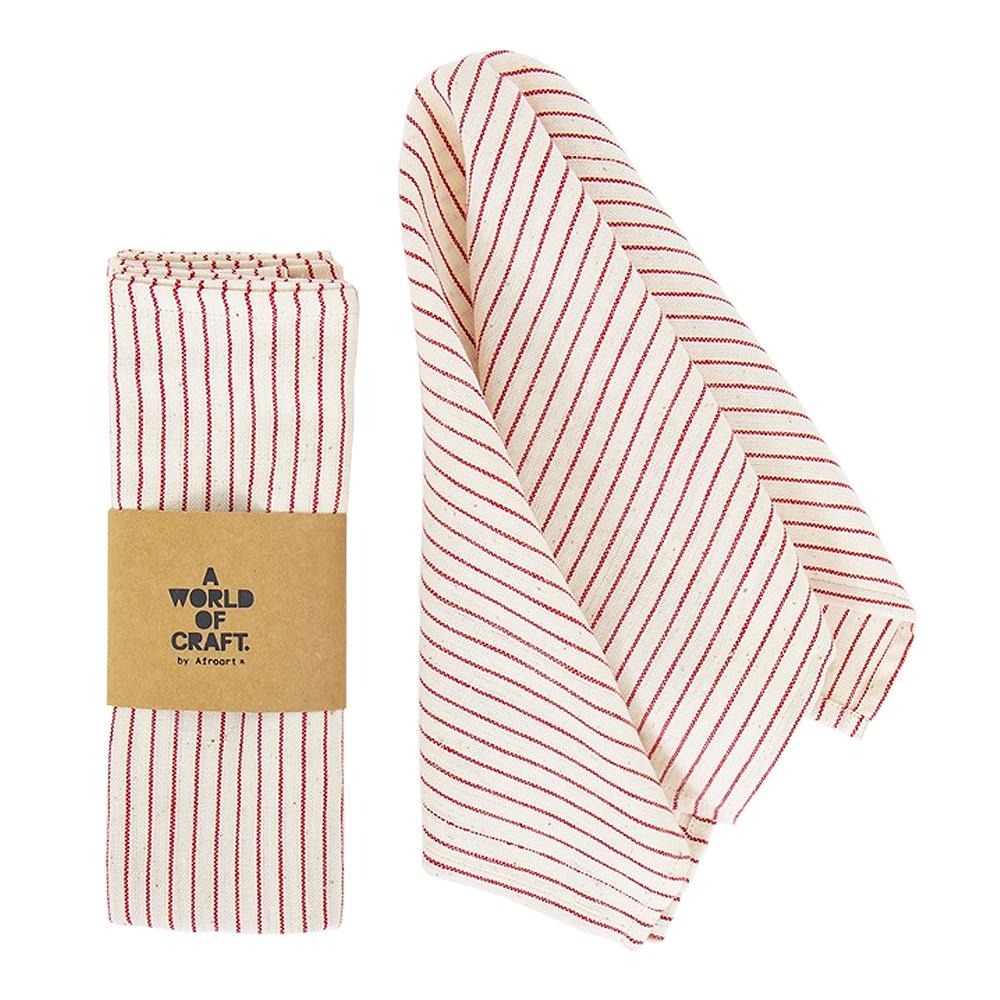 Afroart - Eco Textilservett 45x45 cm 2-pack Eco Thinstripe Röd