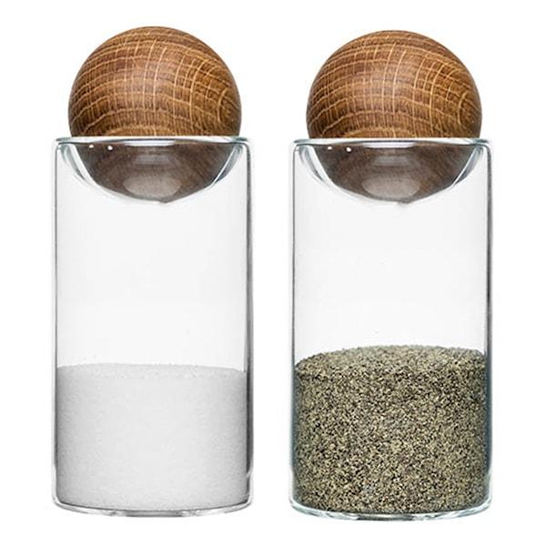 Nature Salt- och Pepparströare Glas/Ek