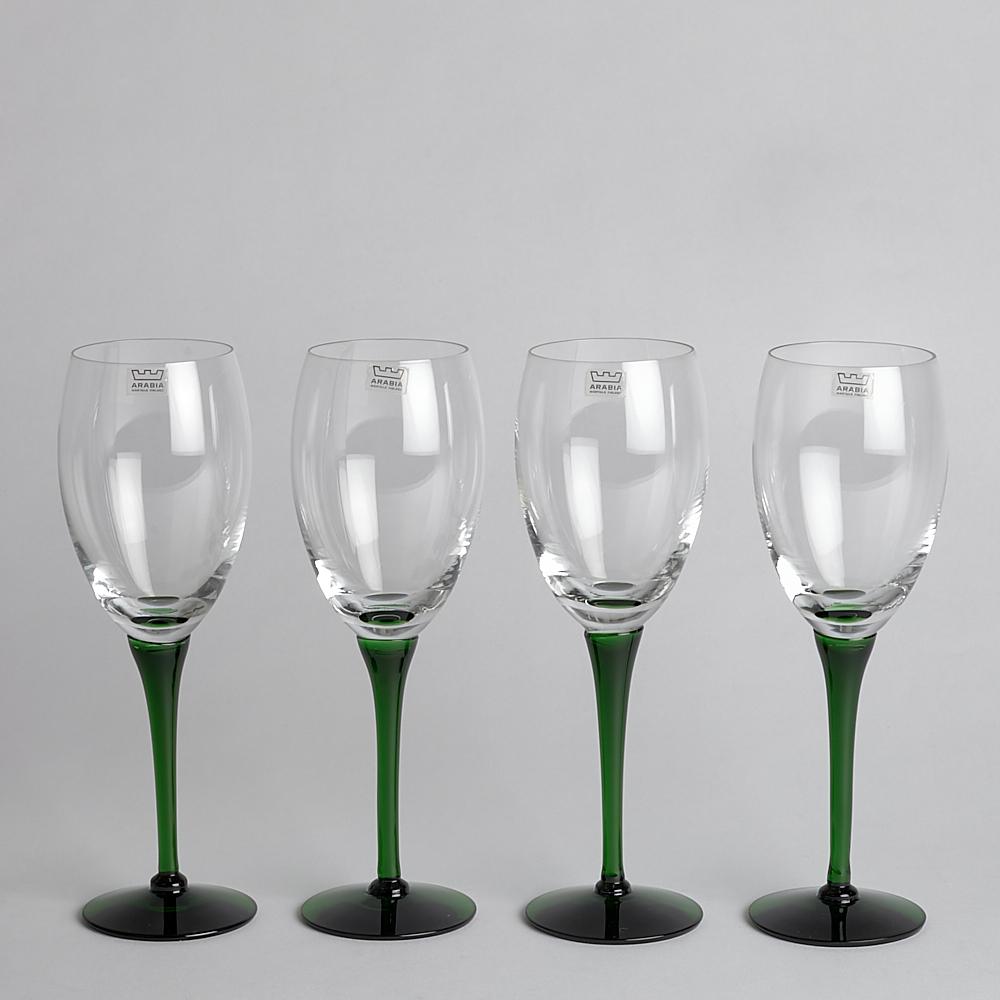 Arabia - SÅLD Glas med Grön Fot 4 st