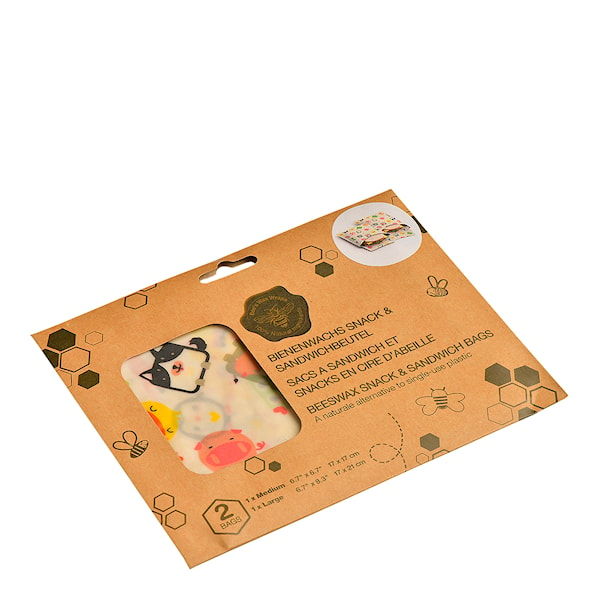 Bivaxduk Smörgåspåse Djur 2-pack