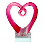 Glasskulptur Hjärta 12,5 cm Rosa
