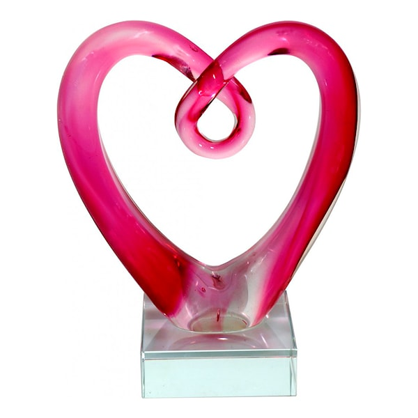 RBA Sweden Glasskulptur Hjärta 12,5 cm Rosa