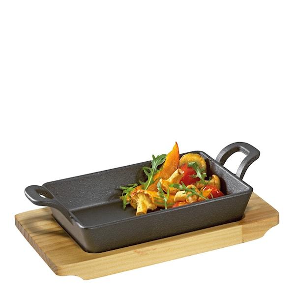 Küchenprofi BBQ Grill-/Serveringspanna med träfat 20x12 cm