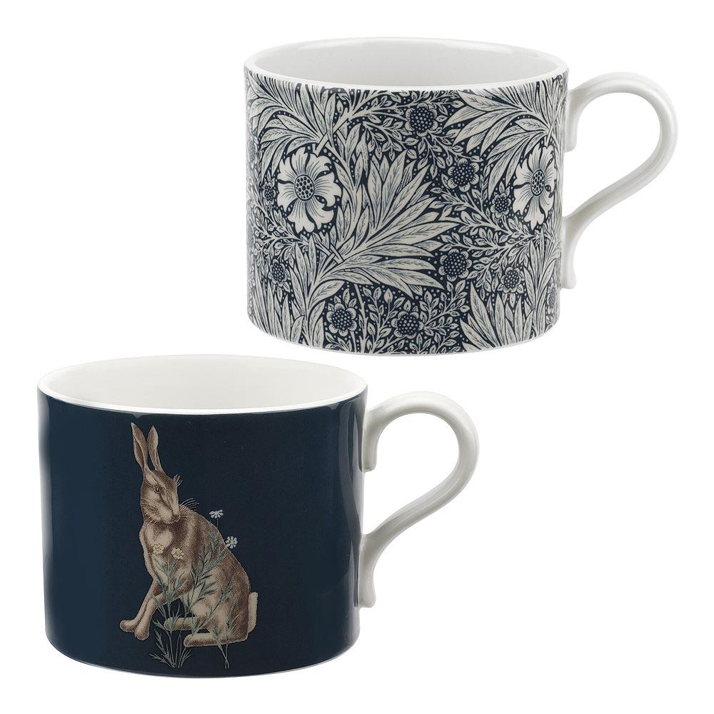 Morris & Co - Pure Morris Mugg 2-pack Marigold & Forest Hare Blå