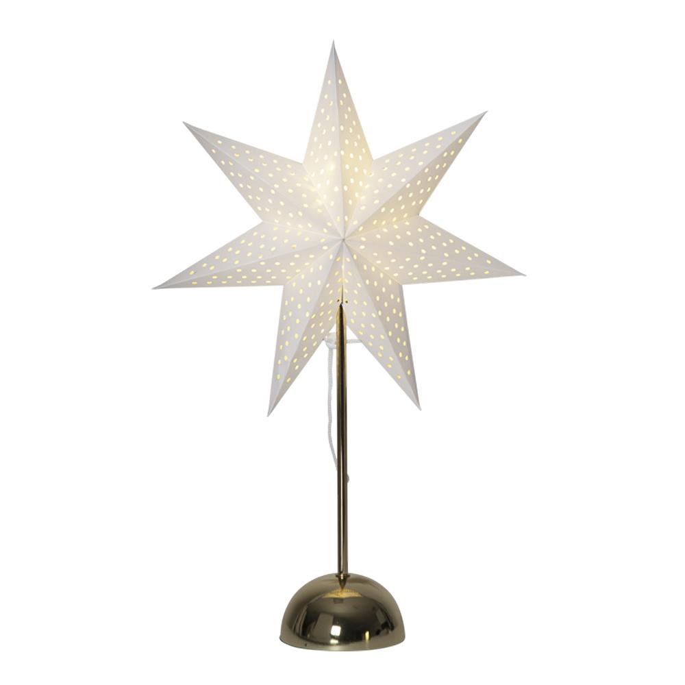 Star Trading - Lottie Stjärna på fot 55 cm Vit/Mässing