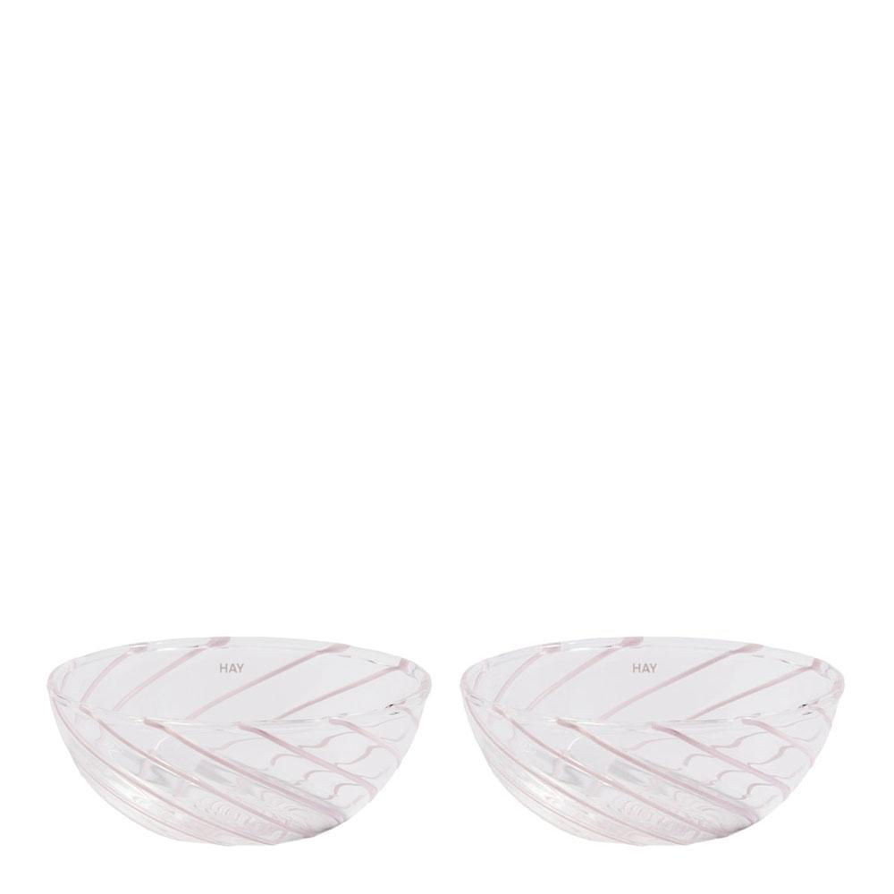 Hay - Skål Spin 8,5x3,5 cm 2-pack  Rosa/Vit