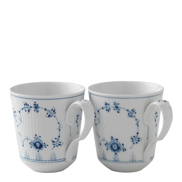 Blue Fluted Plain Mugg 37 cl 2-pack