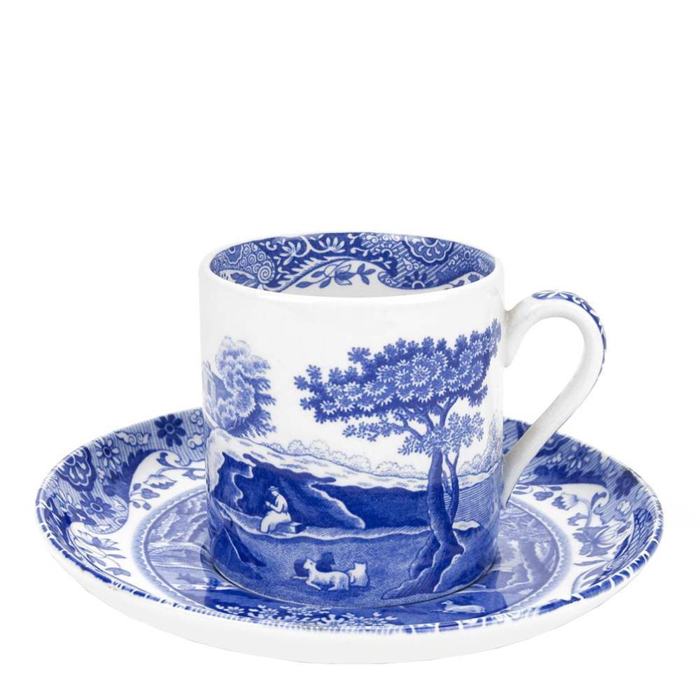 Spode - Blue Italian Kaffekopp med Fat  9 cl