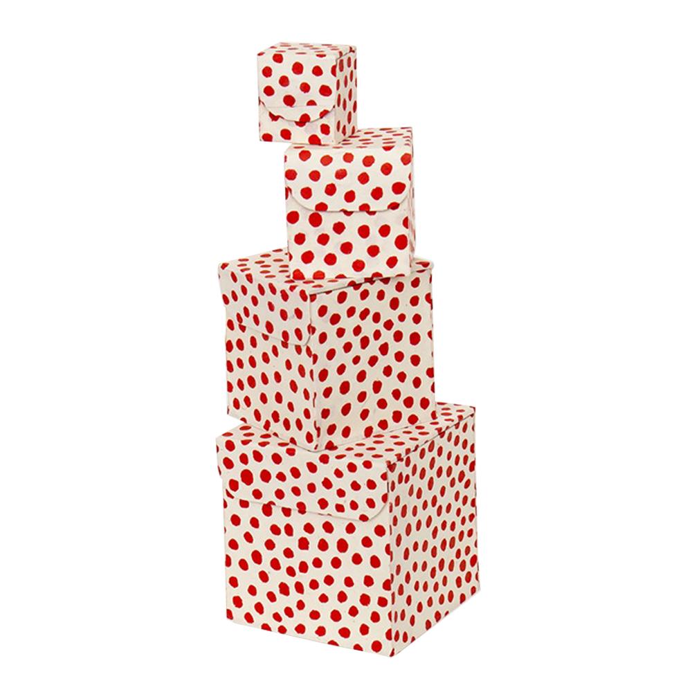 Afroart - Prick Förvaringslådor 4-pack  Röd