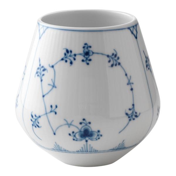 Blue Fluted Plain Vas 12 cm