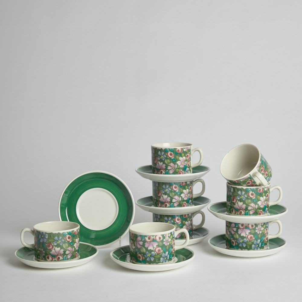 "GEFLE - SÅLD Koppar med Fat ""Grön Flox"" 8 st"