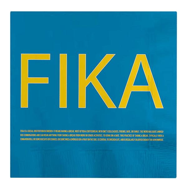 Fika Servett Blå engelsk text 16,5x16,5 cm
