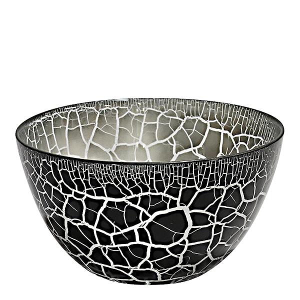 Nybro Crystal Croco Skål 21 cm Svart/Silver