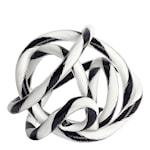 Glasskulptur Knot No 2 S  Svart/Vit