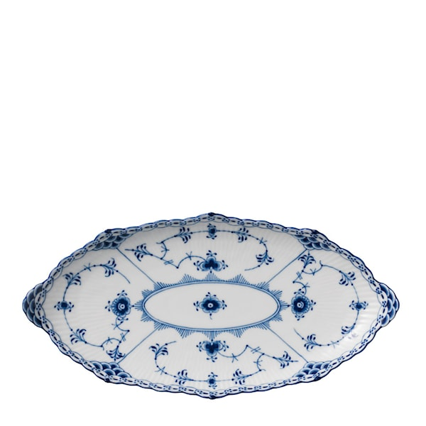 Royal Copenhagen Blue Fluted Half Lace Fat Oval 24 cm