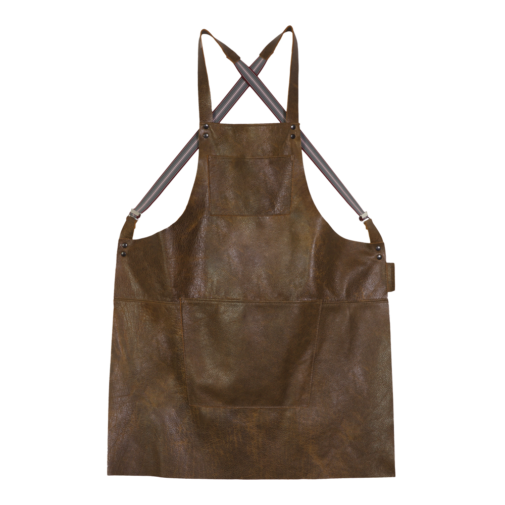 Dutchdeluxes - Förkläde Läder med hängslen Brun