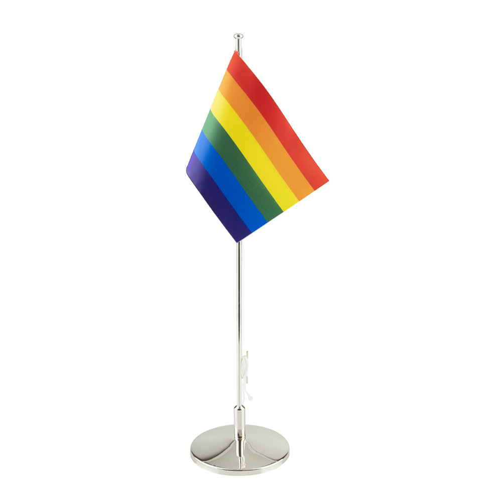 Dacapo Silver - Flaggstång med Prideflagga Nysilver 42 cm