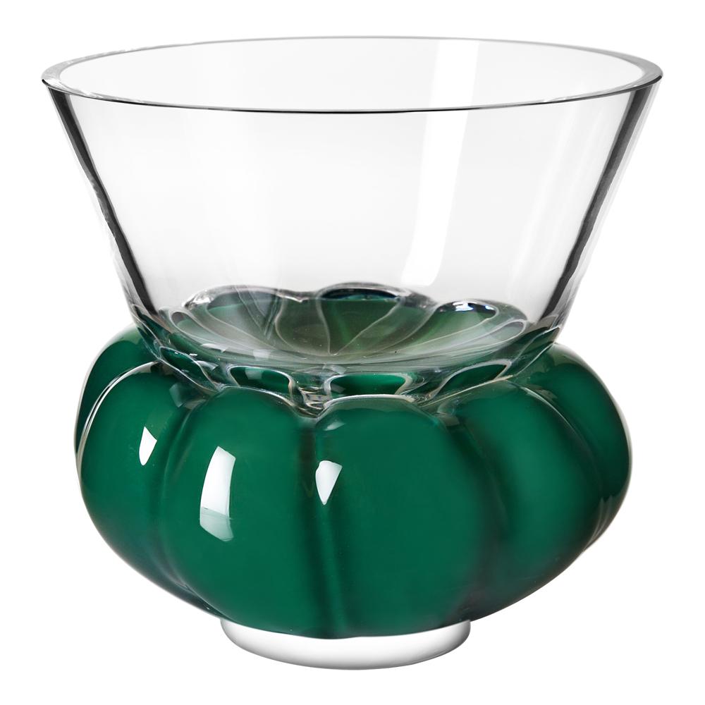 Målerås Glasbruk - Padam Skål 15 cm Klar/Grön