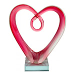 Glasskulptur Hjärta 18,5 cm Rosa