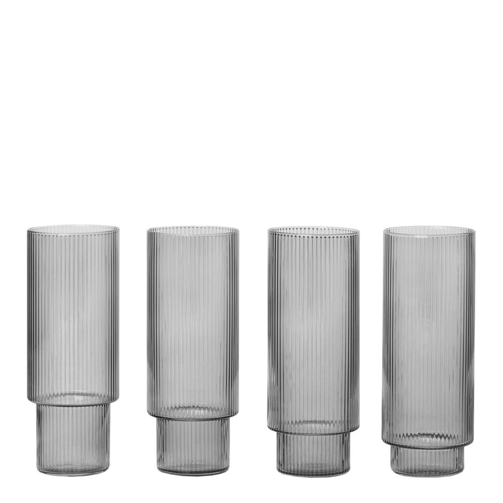 Ferm Living - Ripple Glas 30 cl 4-pack Rök