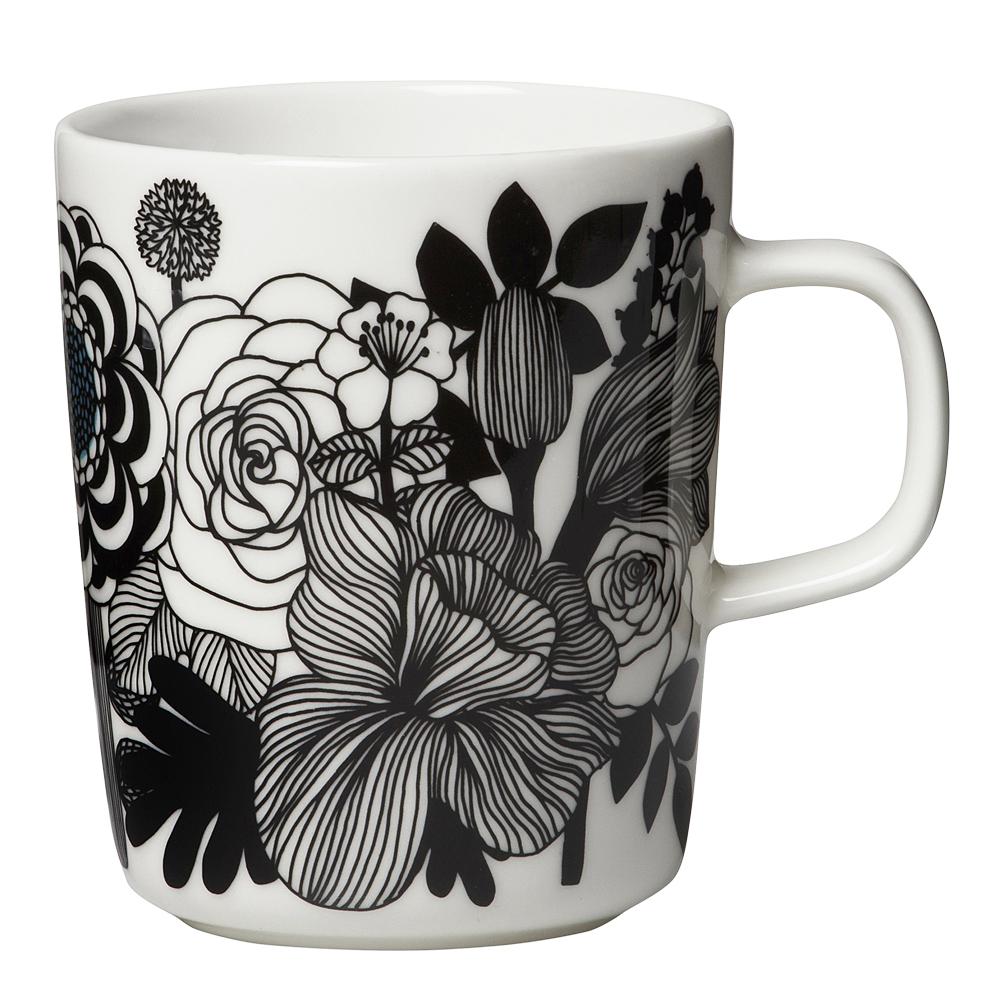 Marimekko - Siirtolapuutarha Mugg 25 cl Svart/vit blommor
