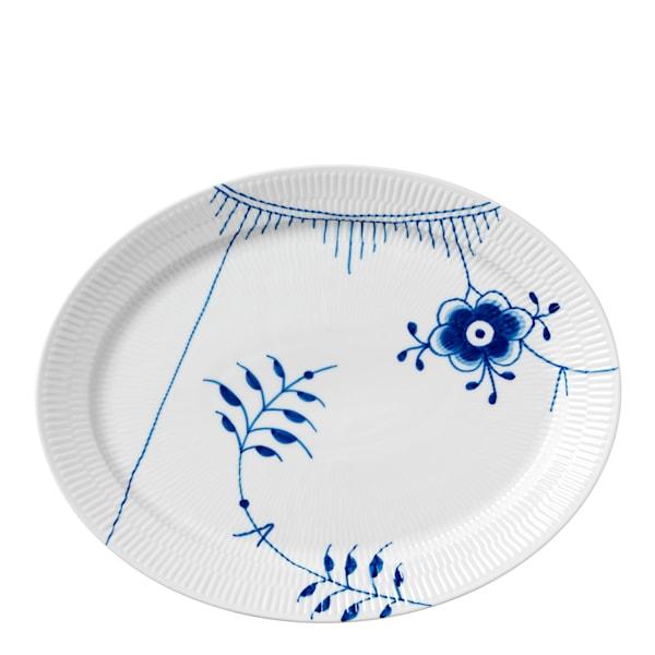 Blue Fluted Mega Fat oval 34,5 cm dekor nr 2