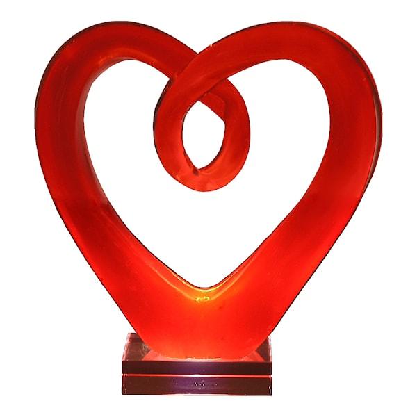 Glasskulptur Hjärta 20 cm Röd