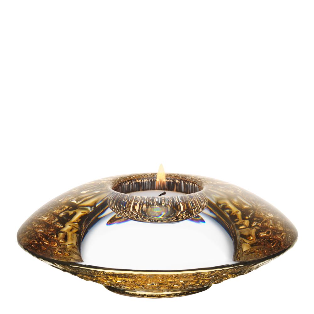 Orrefors - Discus Ljuslykta 14 cm Guld