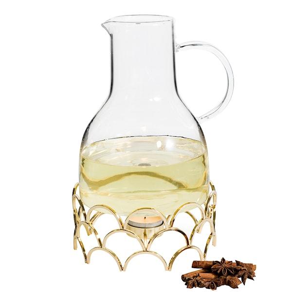 Winter Glöggkanna med värmare 1,3 L Glas/Guld