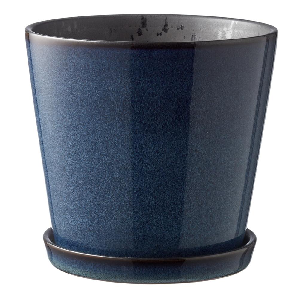 Bitz - Skjuler Kruka med fat 12,5 cm Mörkblå/Svart