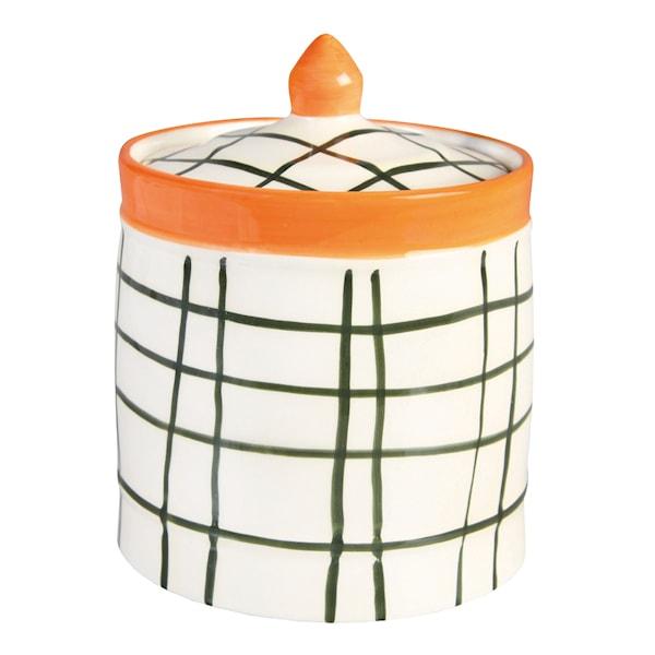 Checked Burk med lock 15 cm Grön/Orange