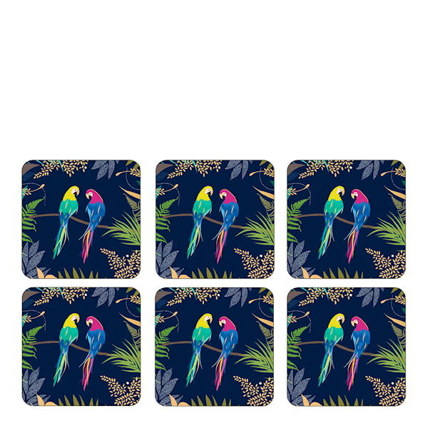 Parrot Glasunderlägg 6-pack