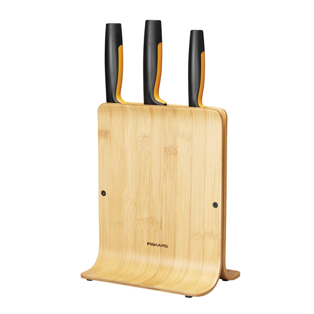 Fiskars - Functional Form Knivblock med 3 Knivar Bambu