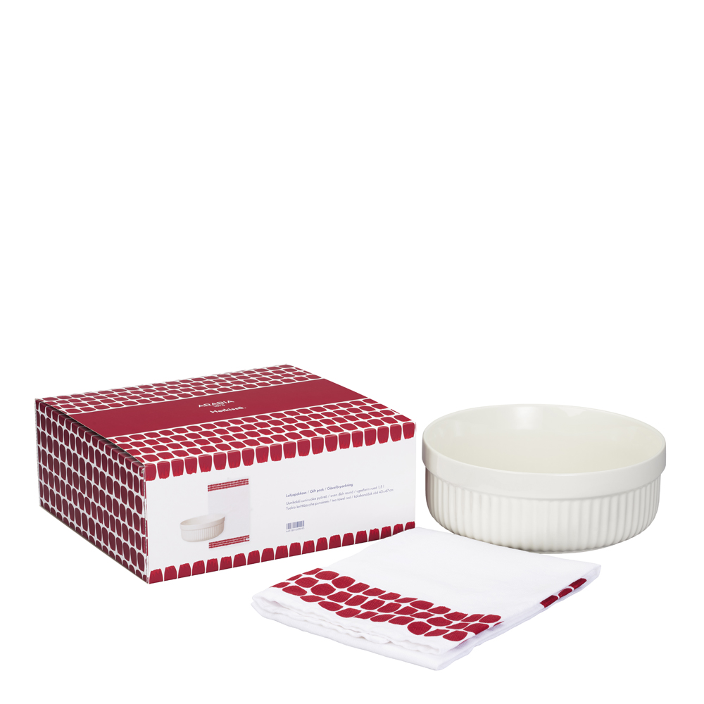 Arabia - Uunikokki/Tuokio Gåvoförpackning Ugnsform och Kökshandduk Röd