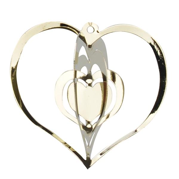 Istind Juldekoration Hjärta 6 cm Guld