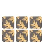Etched Leaves Glasunderlägg 6-pack  Mörkgrå