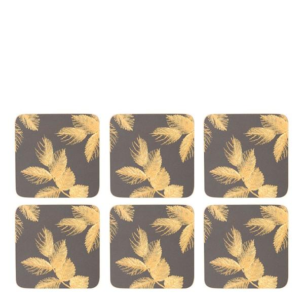 Pimpernel Etched Leaves Glasunderlägg 6-pack  Mörkgrå
