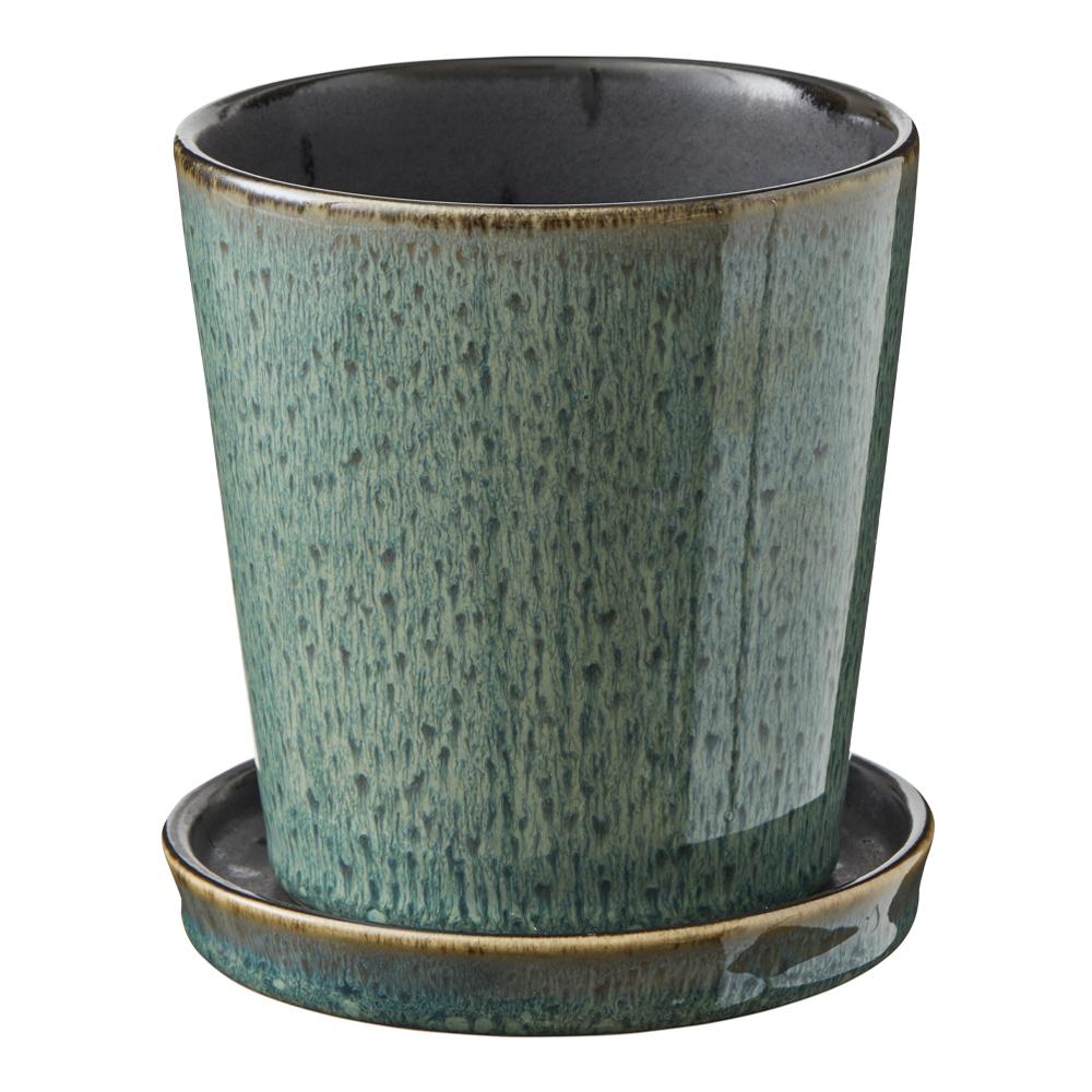Bitz - Skjuler Kruka med fat 10 cm Grön/Svart