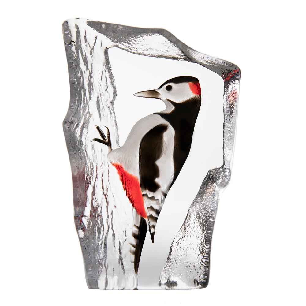 Målerås Glasbruk - Wildlife Hackspett 19,5 cm Röd