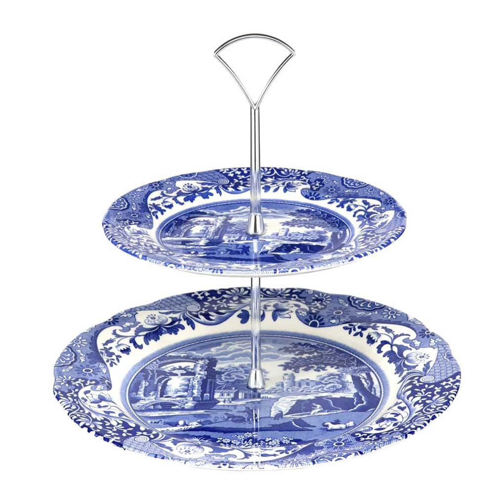 Spode - Blue Italian 2-vånings Kakfat 27 cm