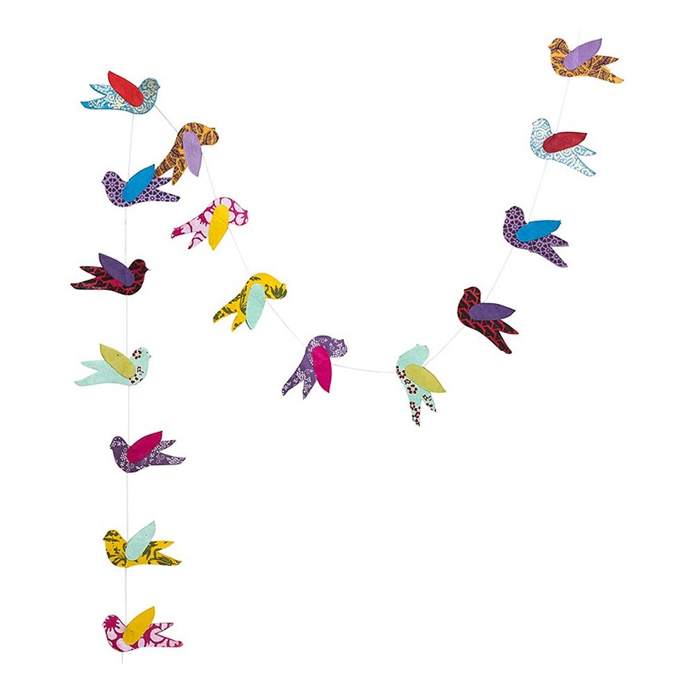 Afroart - Girlang Fågel Papper 135 cm Multi