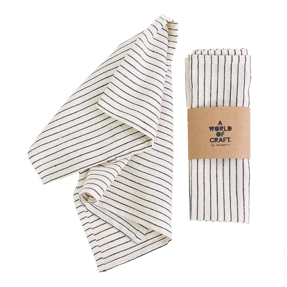 Afroart - Eco Textilservett 45x45 cm 2-pack Eco Thinstripe Svart
