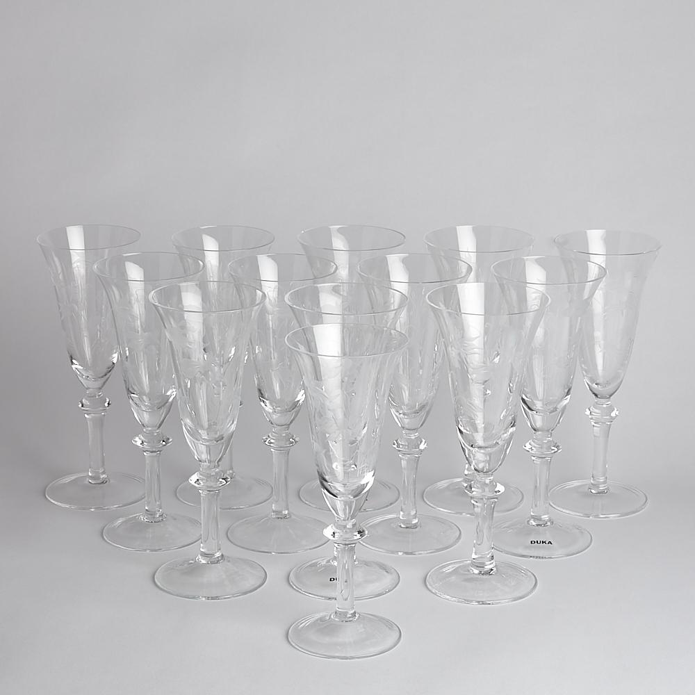Vintage - SÅLD Champagneglas Blåklocka 13 st