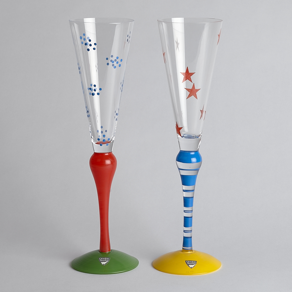 "Orrefors - SÅLD Champagneglas ""Clown"" 2 st"
