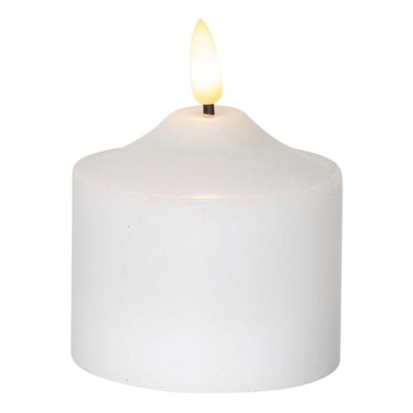 Flamme LED-Blockljus med timer 9,5 cm Vit